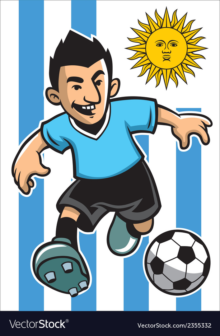 Uruguay soccer player with flag background vector | Price: 1 Credit (USD $1)
