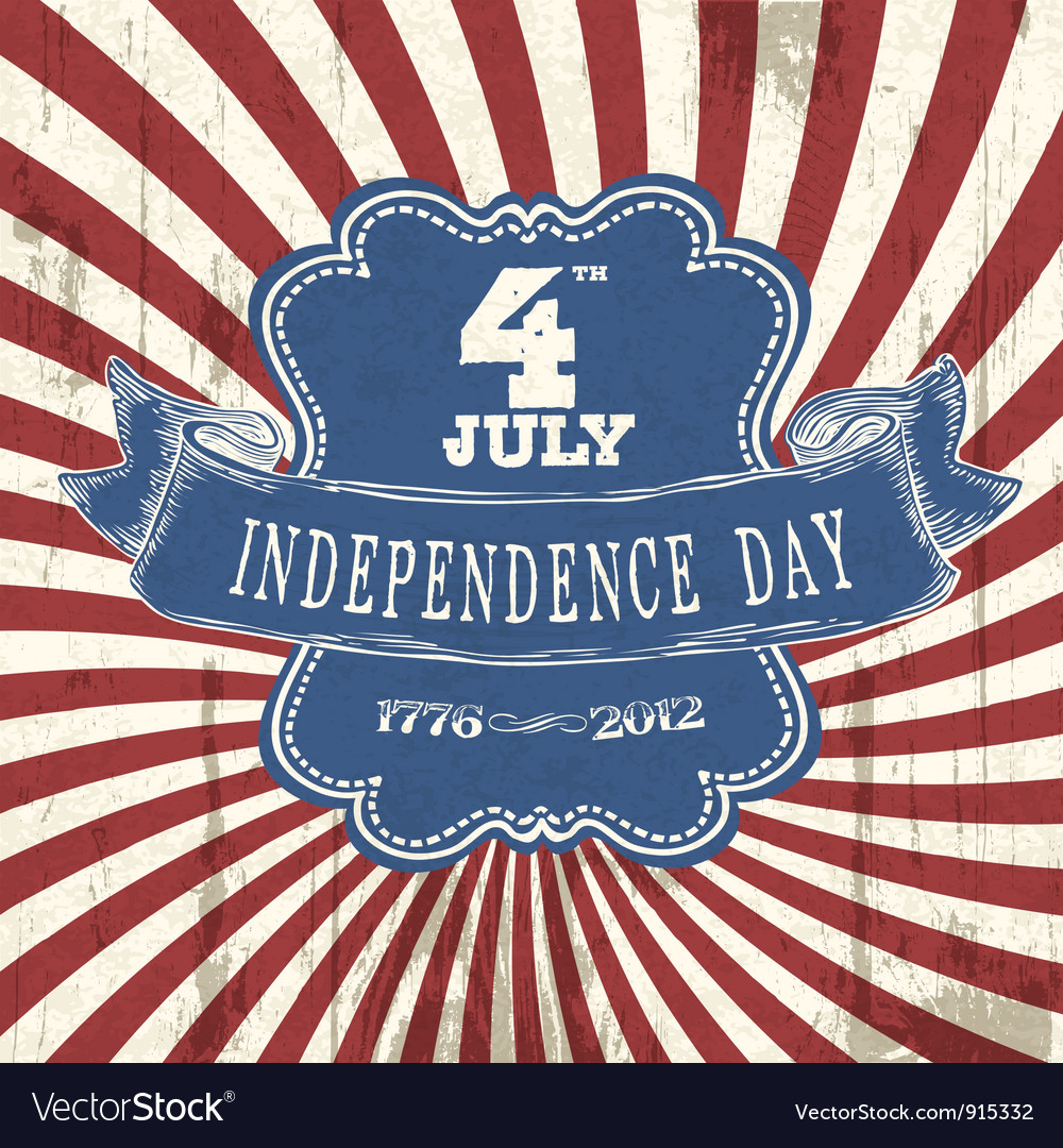 Vintage styled independence poster vector | Price: 1 Credit (USD $1)