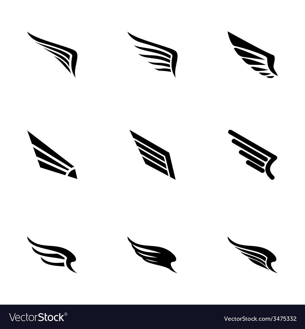 Wing icon set vector | Price: 1 Credit (USD $1)