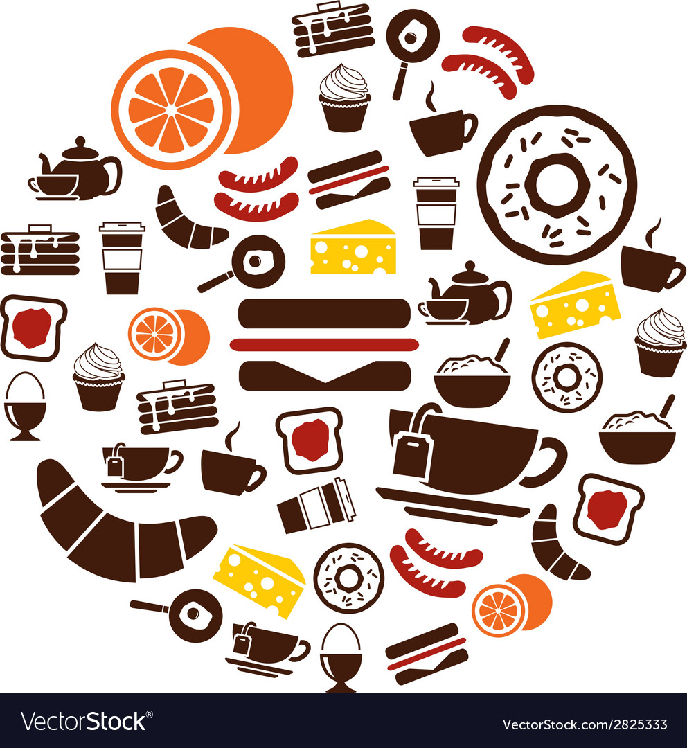 Breakfast icons in circle vector | Price: 1 Credit (USD $1)
