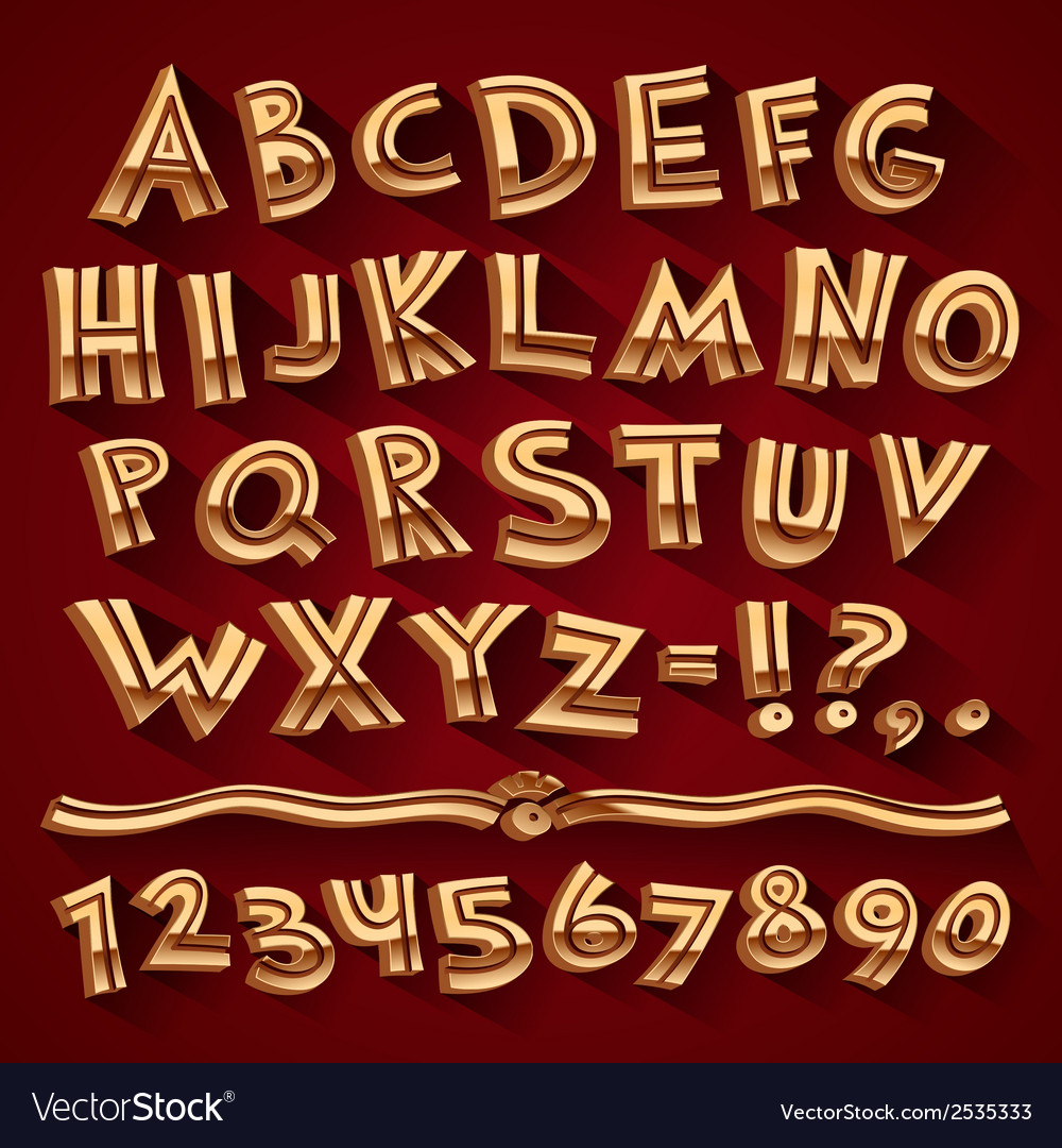 Golden retro 3d font with strips on red background vector | Price: 1 Credit (USD $1)