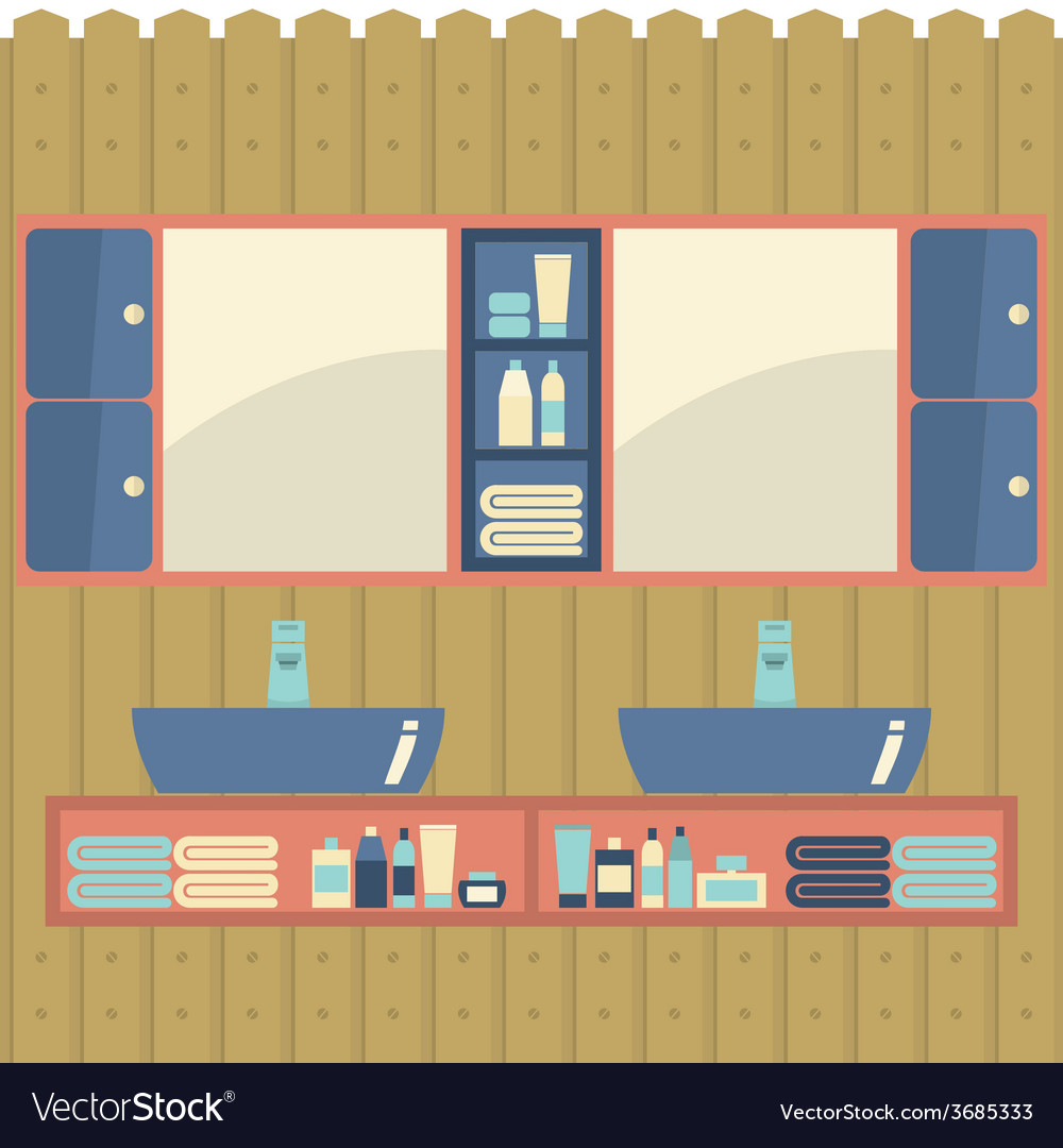 His and her sink with mirrors vector | Price: 1 Credit (USD $1)