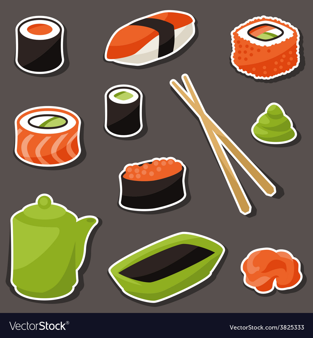 Icon set of various sushi vector | Price: 1 Credit (USD $1)