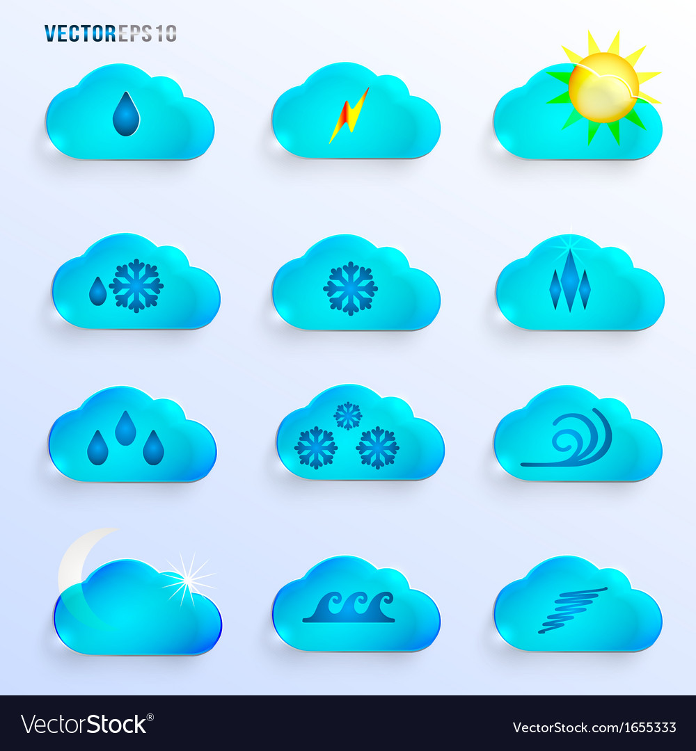 Light blue clouds with weather signs vector | Price: 1 Credit (USD $1)