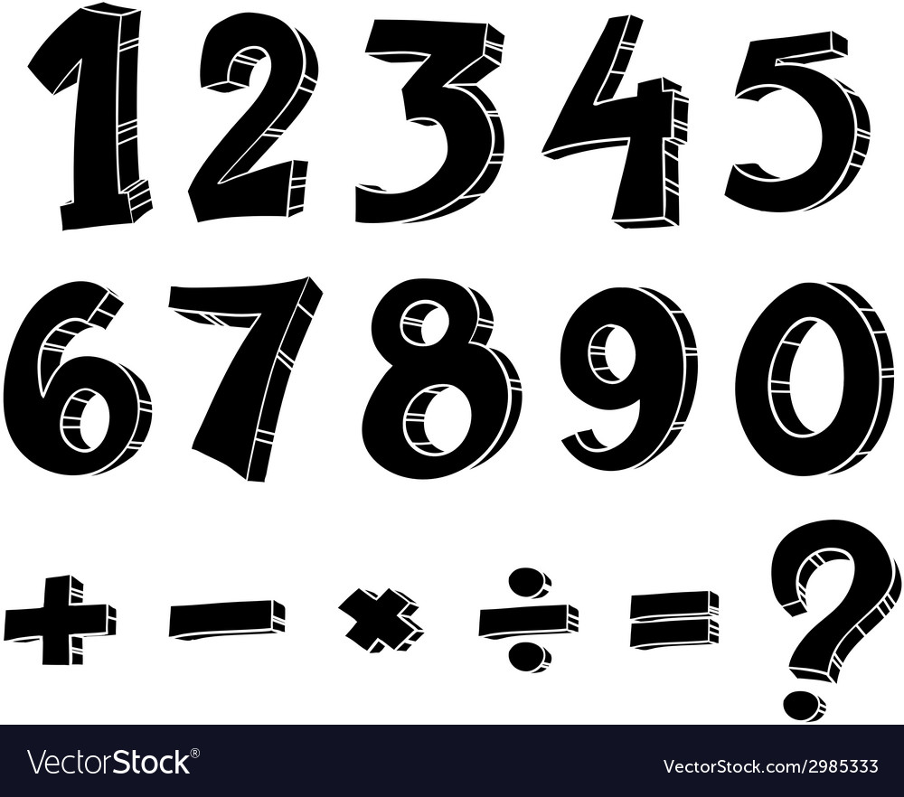 Numeric figures and mathematical operations vector | Price: 1 Credit (USD $1)