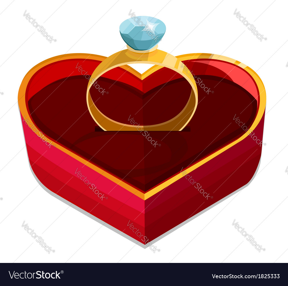 Red heart box with ring vector | Price: 1 Credit (USD $1)