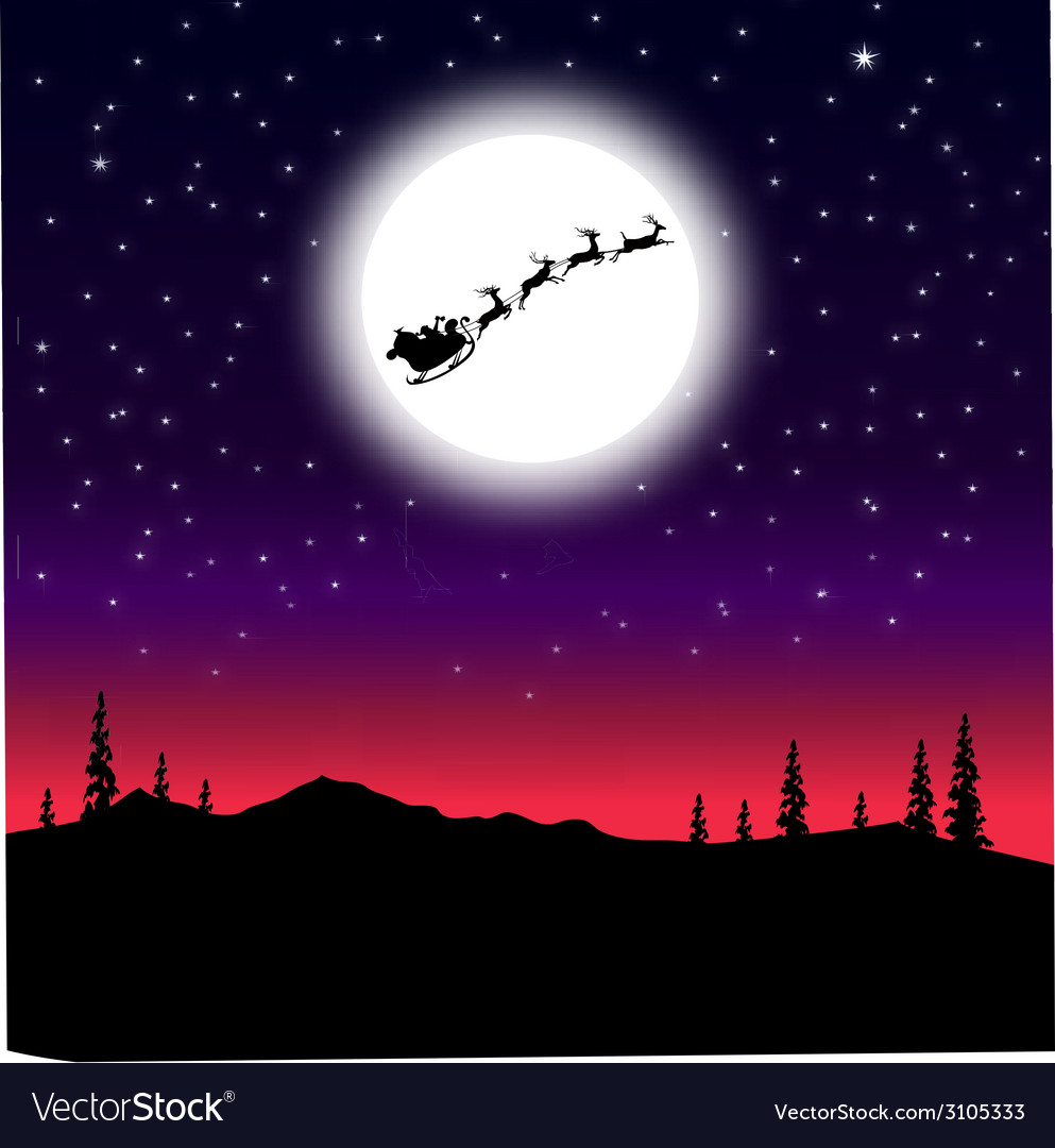 Santa sleigh on christmas night vector | Price: 1 Credit (USD $1)