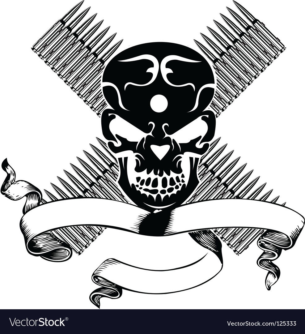 Skull and bullet vintage emblem vector | Price: 1 Credit (USD $1)