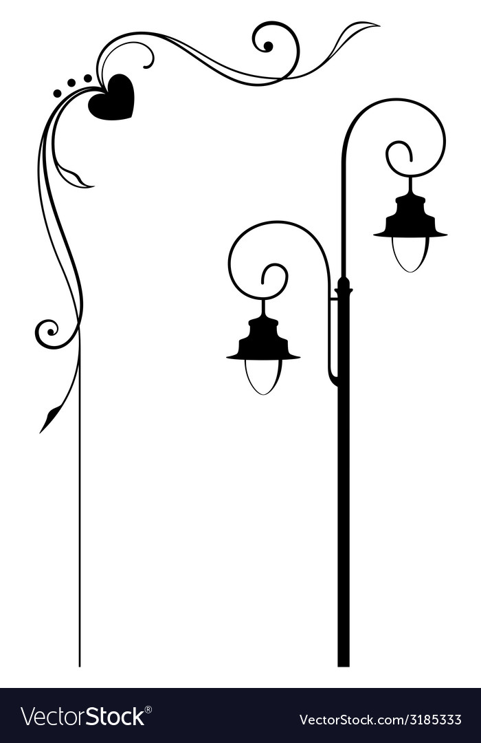Street lamp and romantic frame vector | Price: 1 Credit (USD $1)