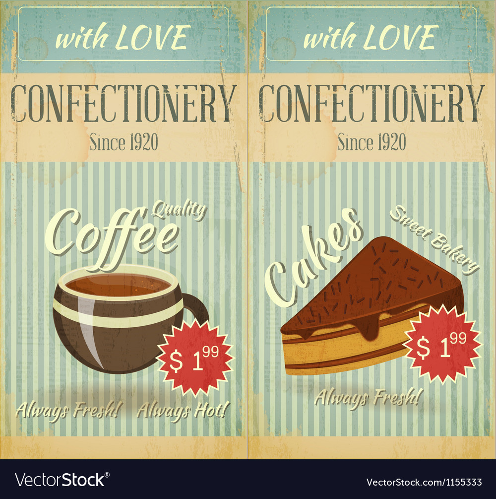 Vintage two cards cafe confectionery dessert menu vector | Price: 1 Credit (USD $1)
