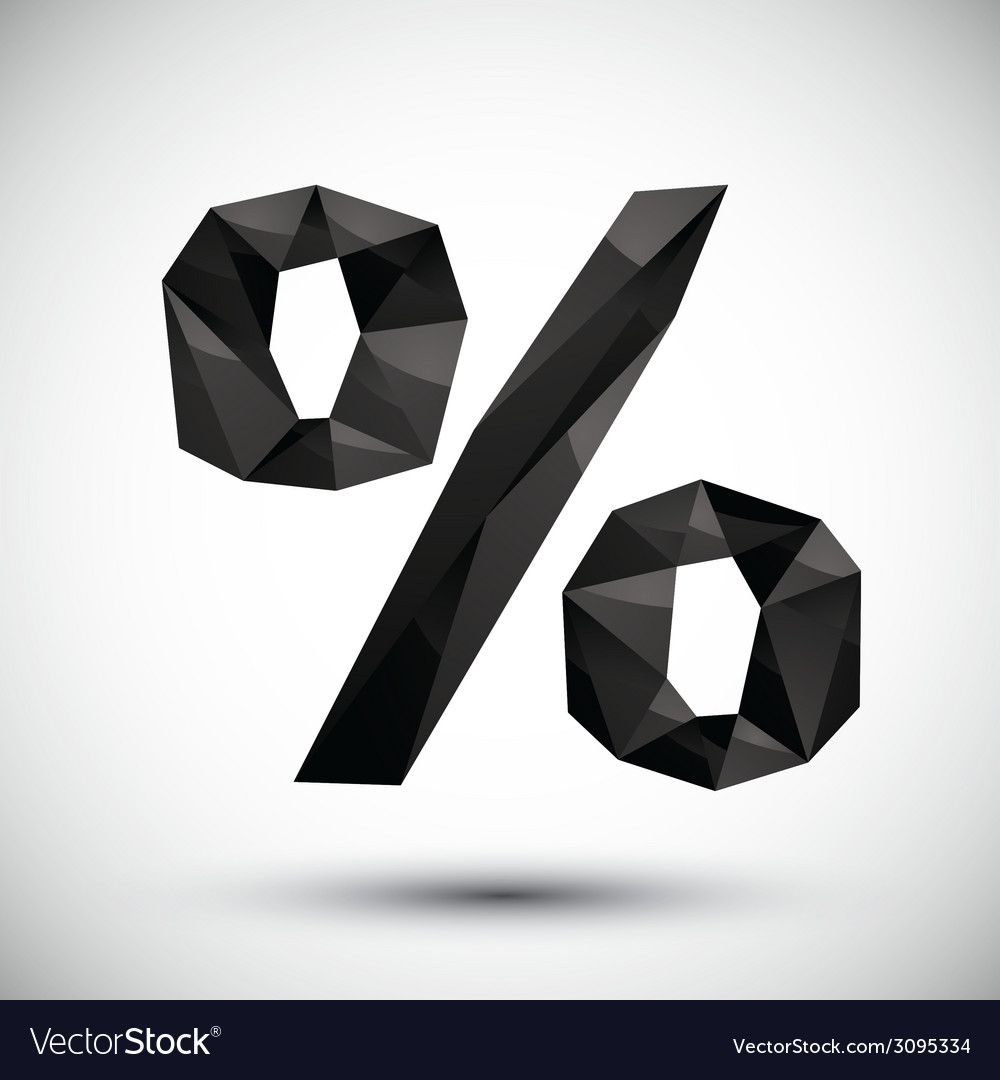 Black percent geometric icon made in 3d modern vector | Price: 1 Credit (USD $1)
