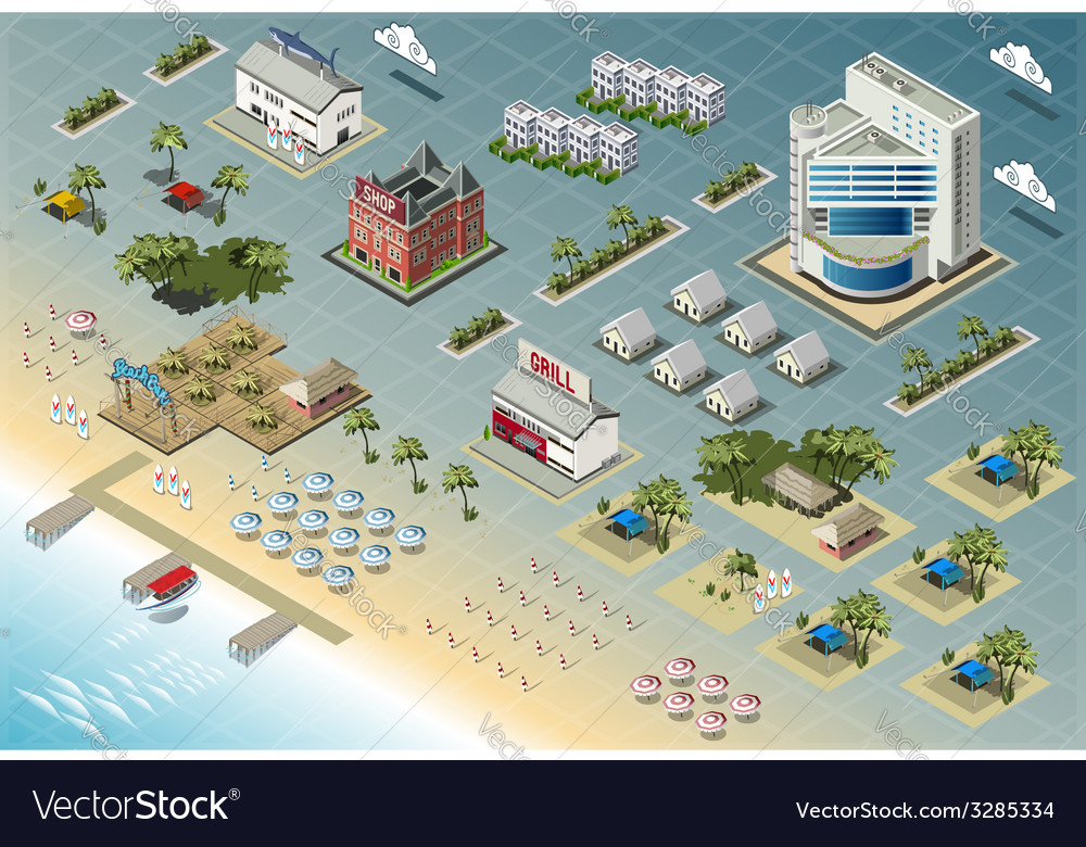 Detailed of isometric seaside buildings vector | Price: 3 Credit (USD $3)