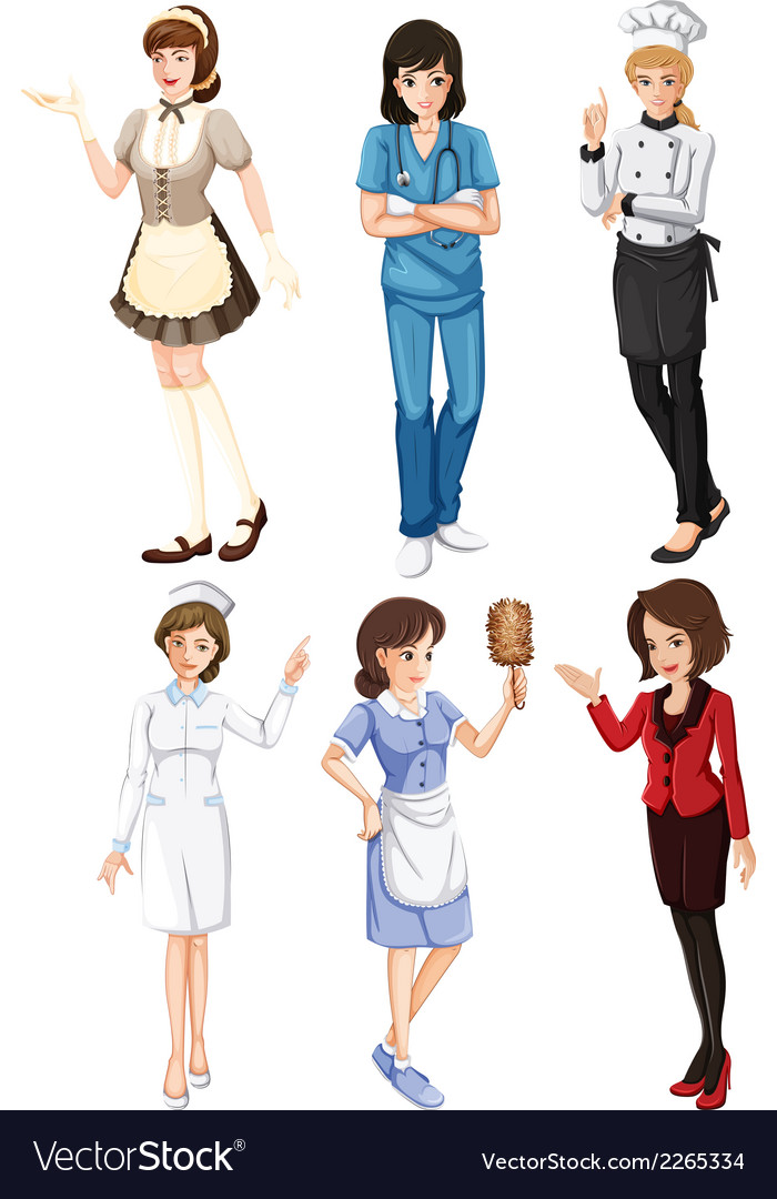 Females with different works vector | Price: 1 Credit (USD $1)