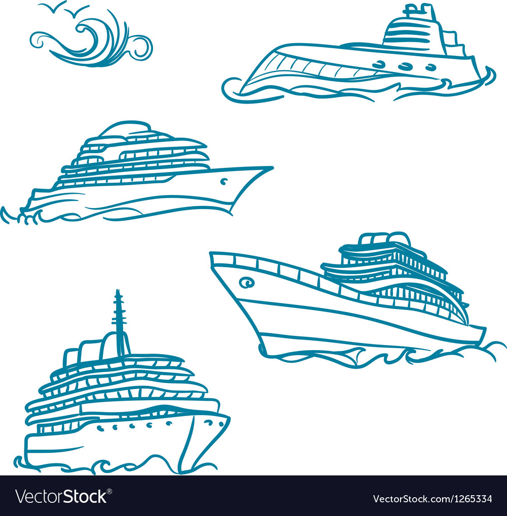 Hand drawn yacht symbol vector | Price: 1 Credit (USD $1)