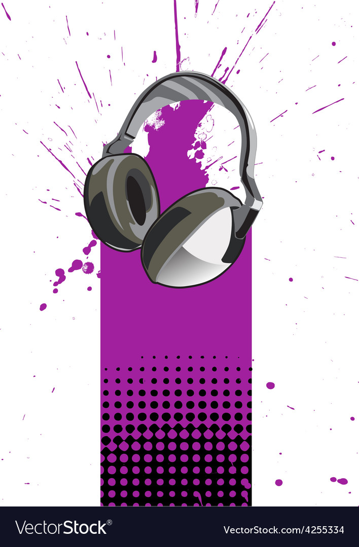 Headphone poster vector | Price: 1 Credit (USD $1)