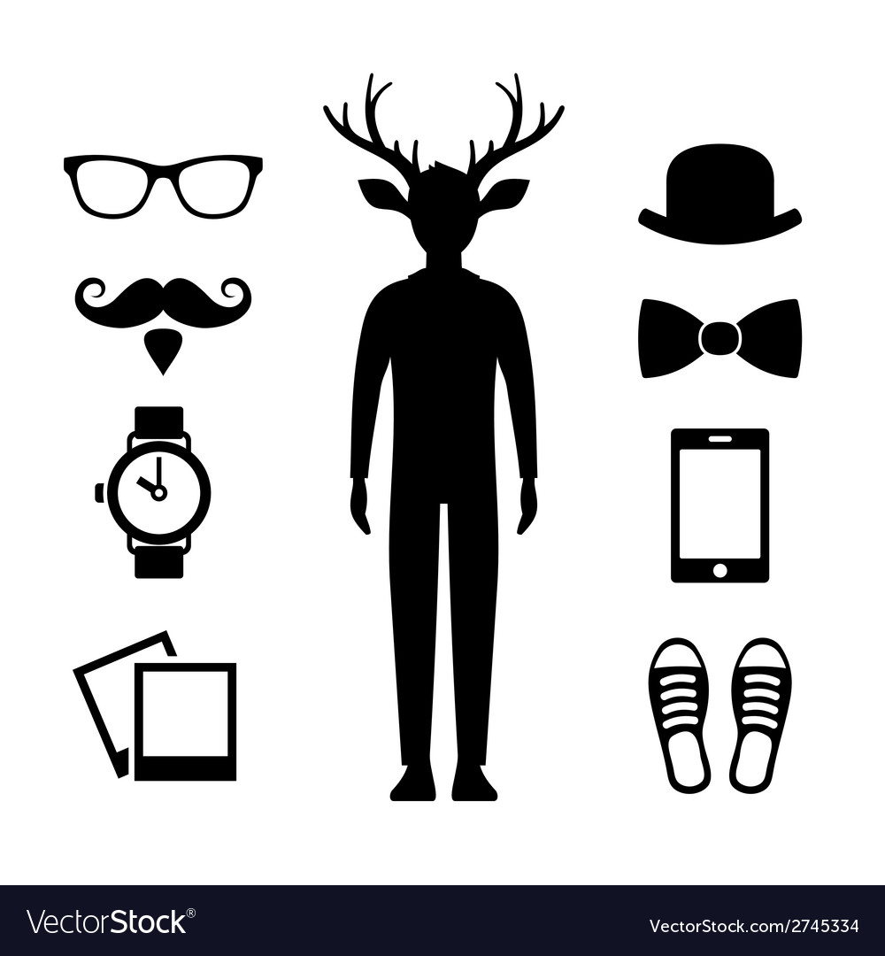Hipster icons set with deer man silhouette vector | Price: 1 Credit (USD $1)