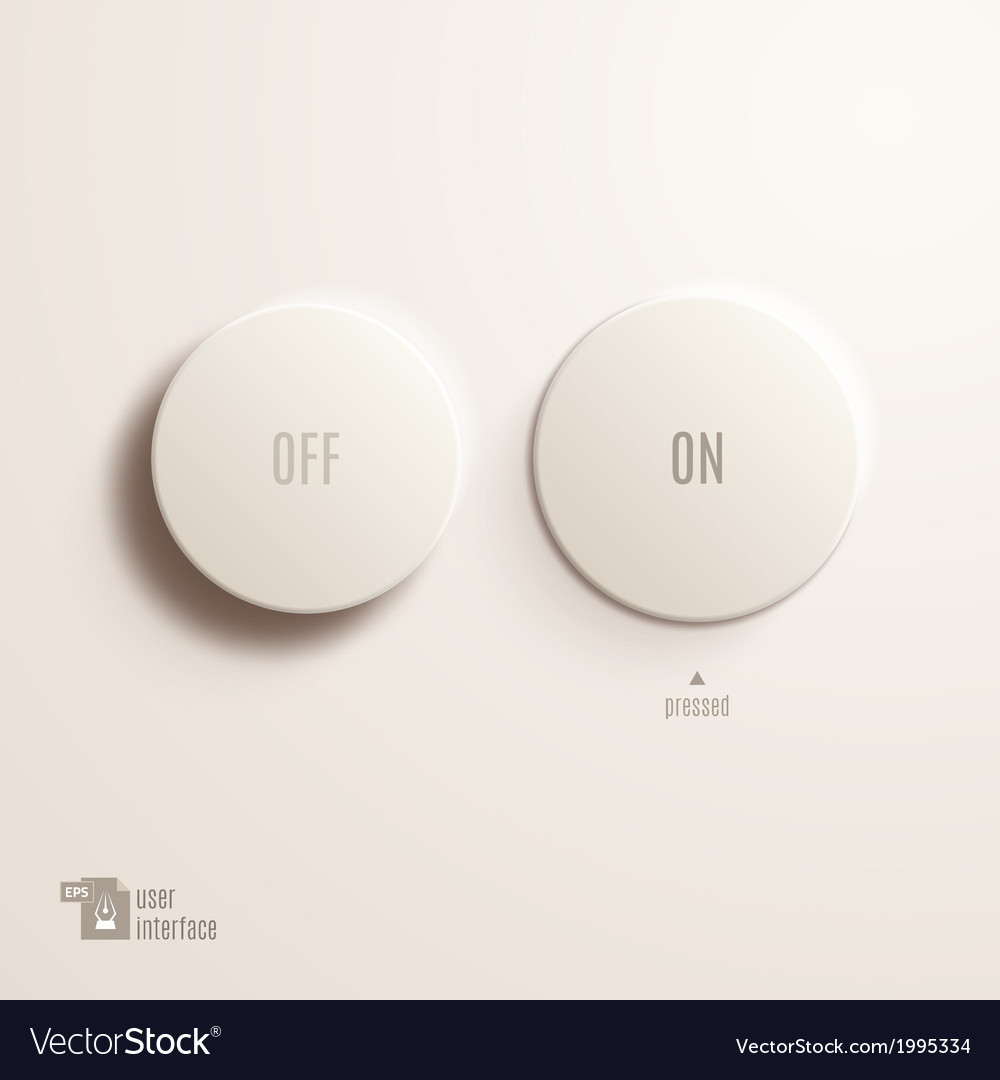 On  off plastic button user interface vector | Price: 1 Credit (USD $1)
