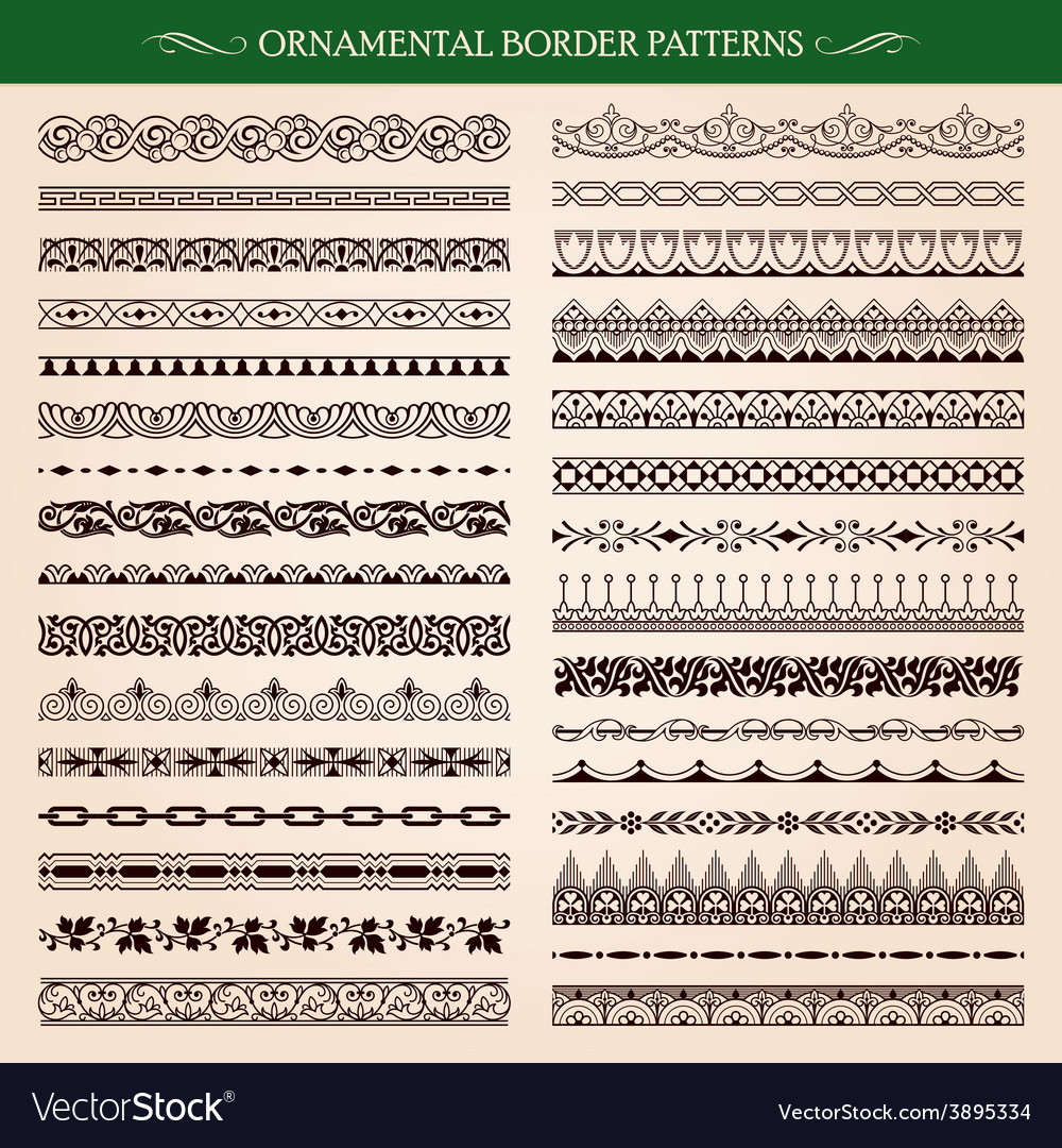 Ornamental border frame patterns vector | Price: 1 Credit (USD $1)