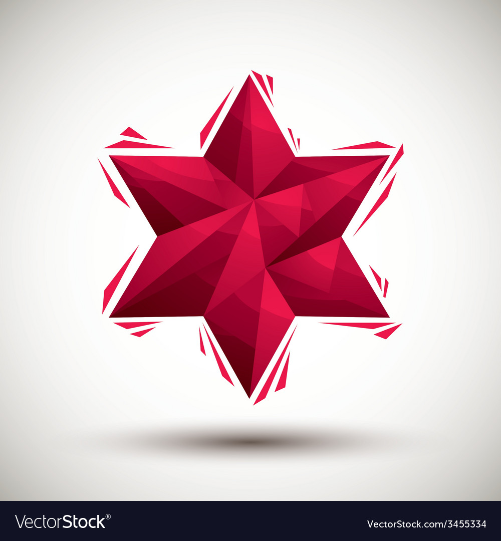 Red six angle star geometric icon made in 3d vector | Price: 1 Credit (USD $1)