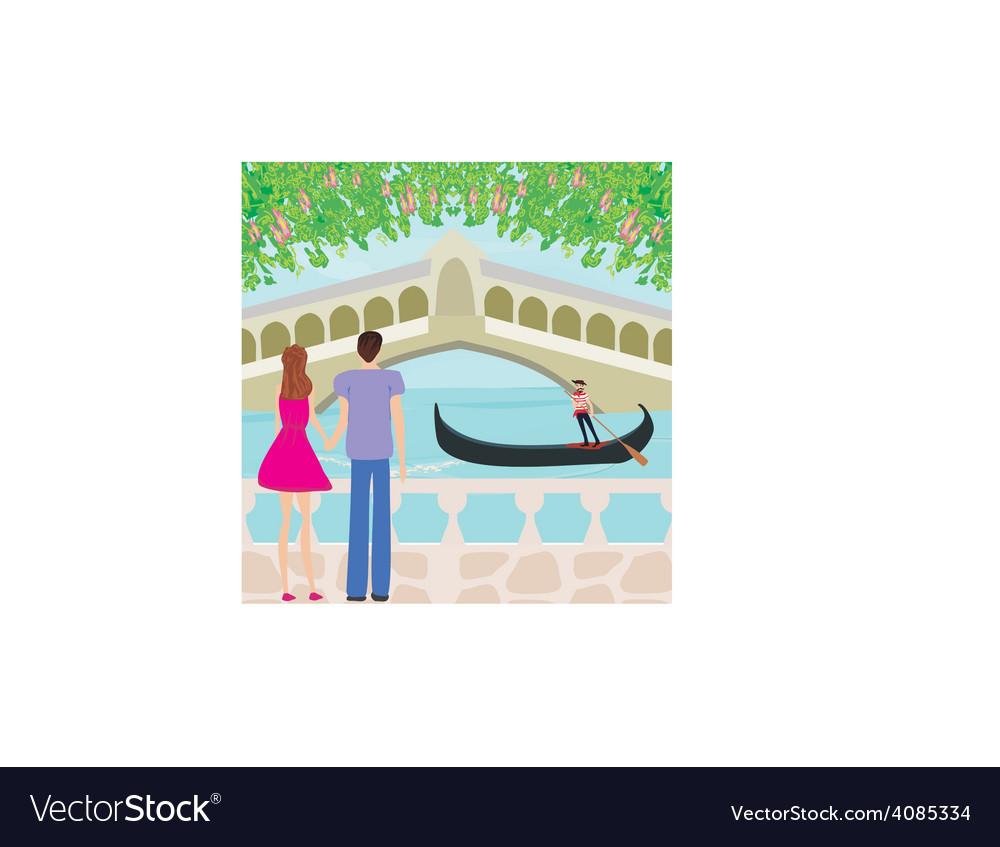 Romantic couple in venice vector | Price: 1 Credit (USD $1)