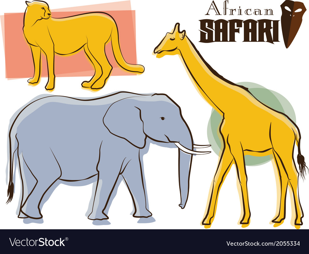 Safari animals retro style vector | Price: 1 Credit (USD $1)