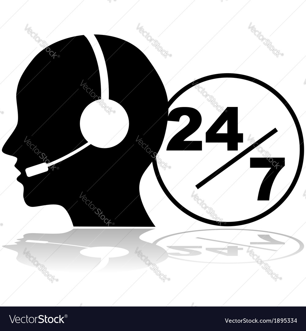 Support 24 hours a day and seven days a week vector | Price: 1 Credit (USD $1)