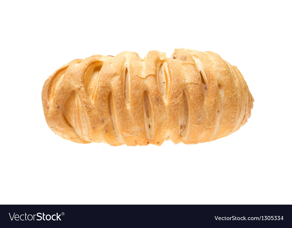 Tasty croissant isolated on the white background vector | Price: 3 Credit (USD $3)