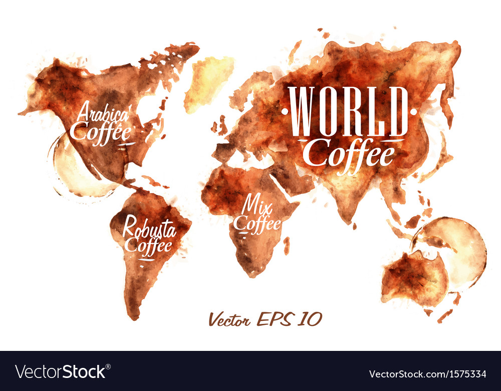 Traces coffee world map vector | Price: 1 Credit (USD $1)