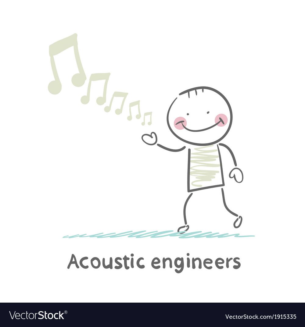 Acoustic engineer with notes vector | Price: 1 Credit (USD $1)