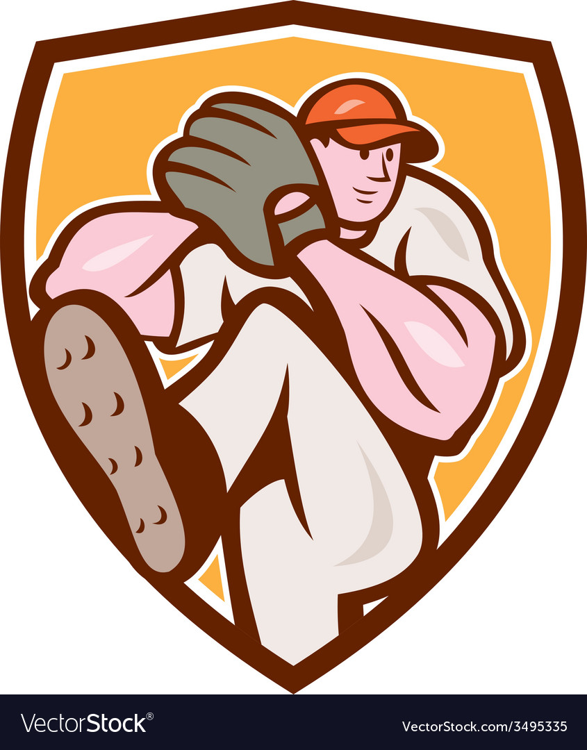 Baseball pitcher outfielder leg up shield cartoon vector | Price: 1 Credit (USD $1)