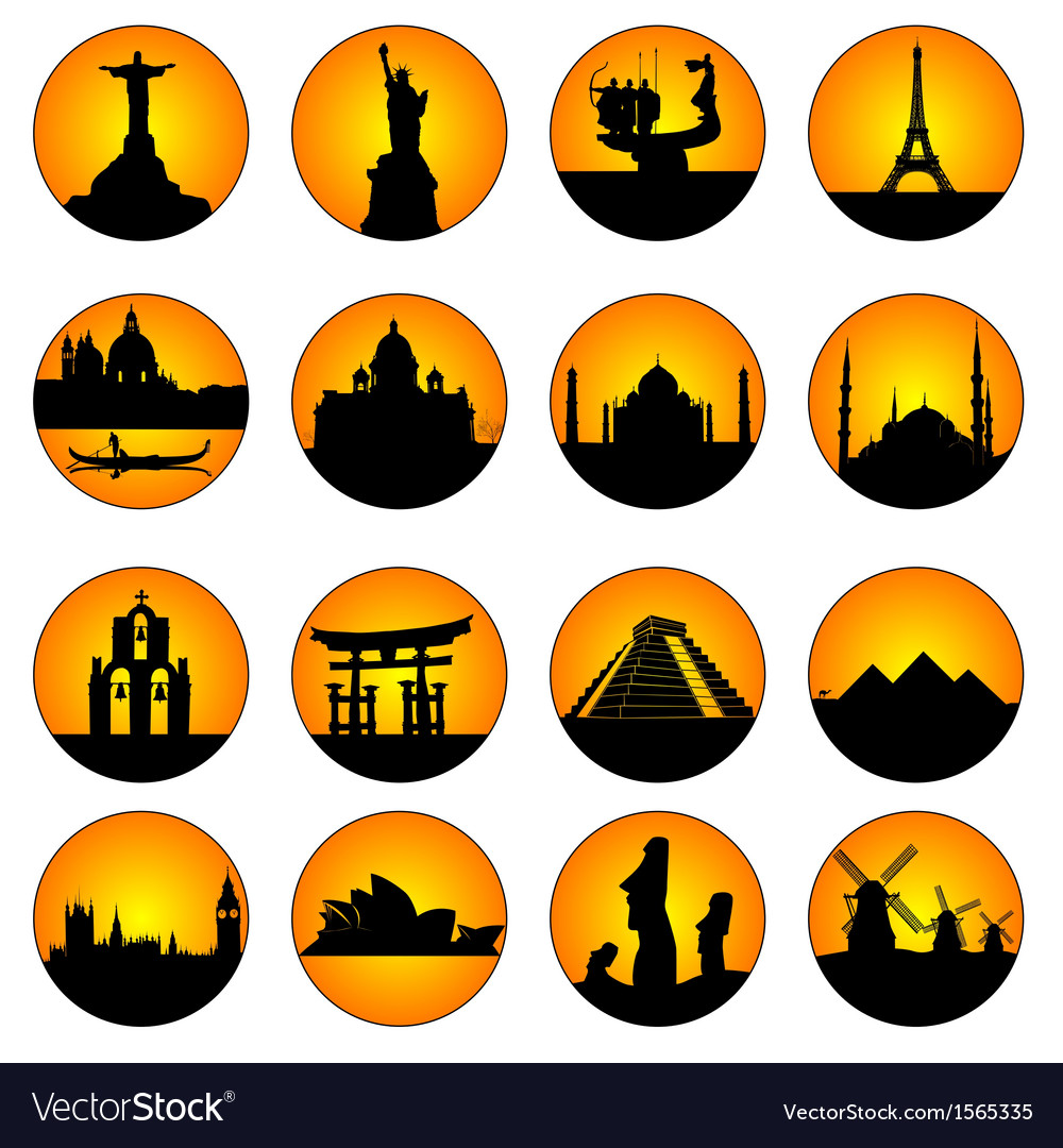 Button famous places in the world vector | Price: 1 Credit (USD $1)