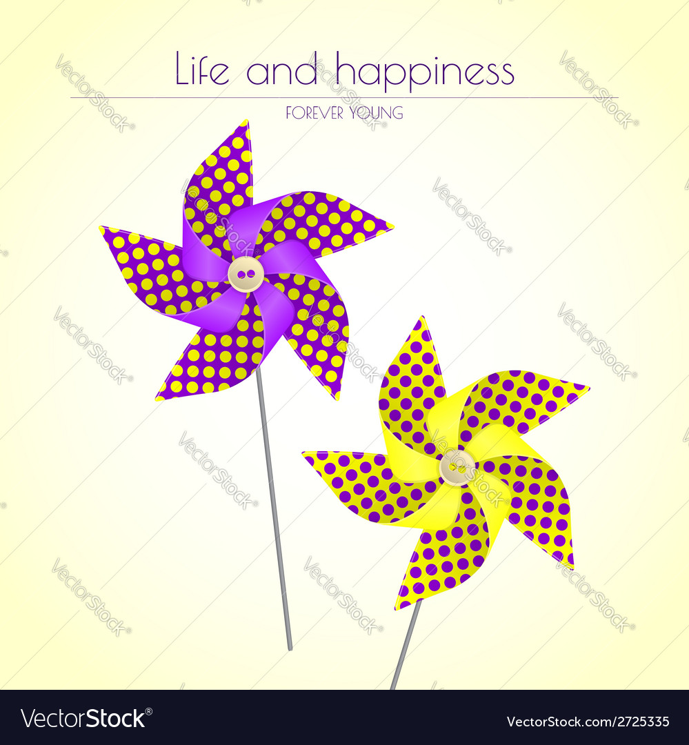 Colorful violet and yellow pinwheels vector | Price: 1 Credit (USD $1)