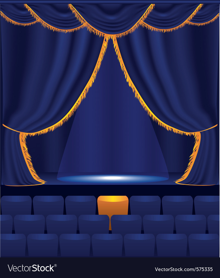 Empty cinema with blue curtain vector | Price: 1 Credit (USD $1)