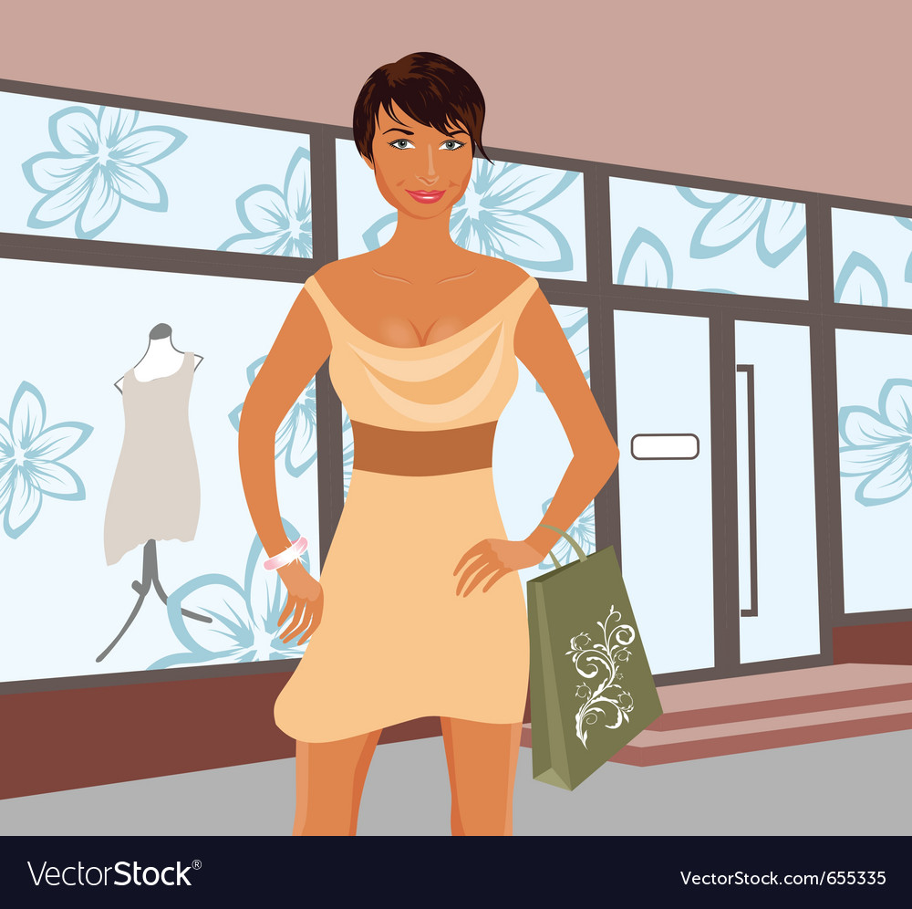 Fashion shopping girl near shop - vector | Price: 1 Credit (USD $1)