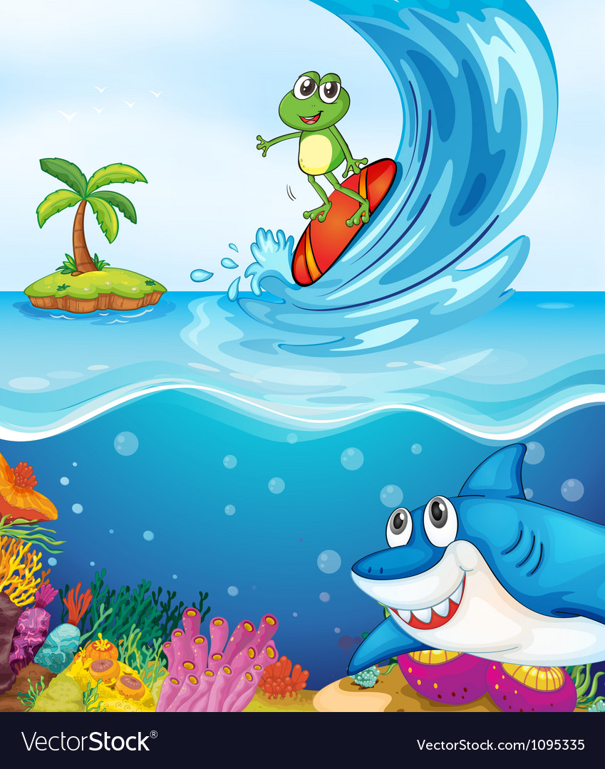 Frog and shark fish in sea vector | Price: 3 Credit (USD $3)