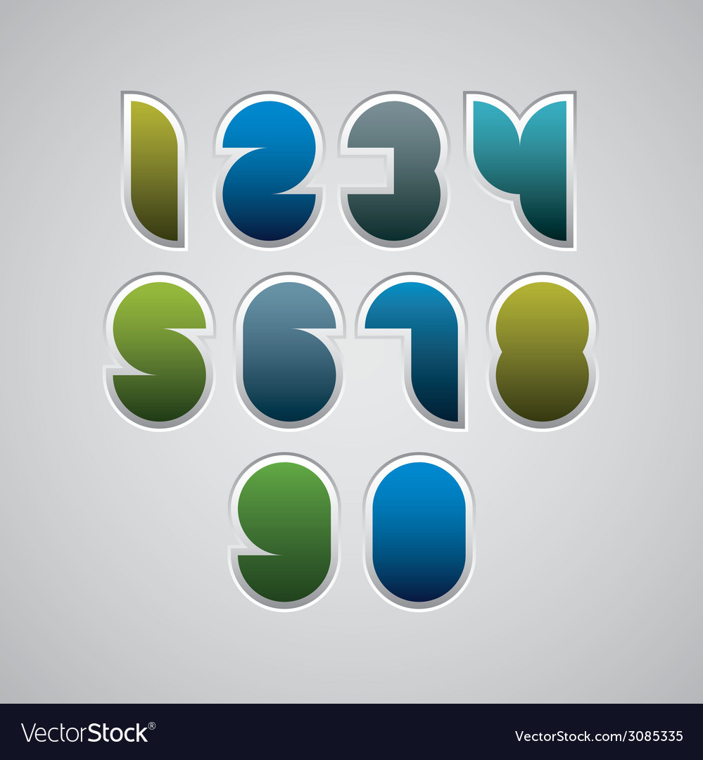 Geometric modern style numbers vector | Price: 1 Credit (USD $1)