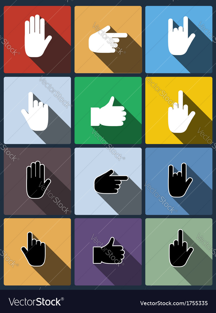 Hand icon set vector | Price: 1 Credit (USD $1)