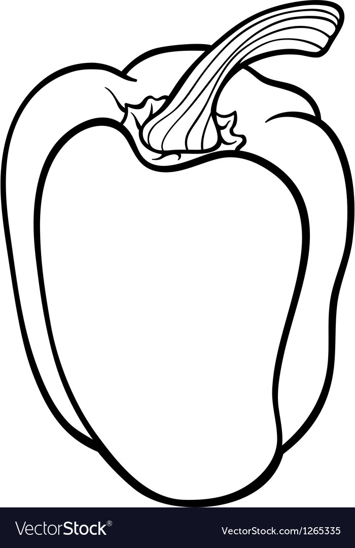 Pepper vegetable cartoon for coloring book vector | Price: 1 Credit (USD $1)