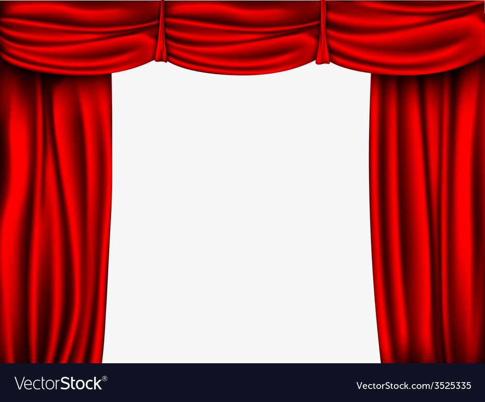 Red silk curtain with shadows and pelmet vector | Price: 1 Credit (USD $1)