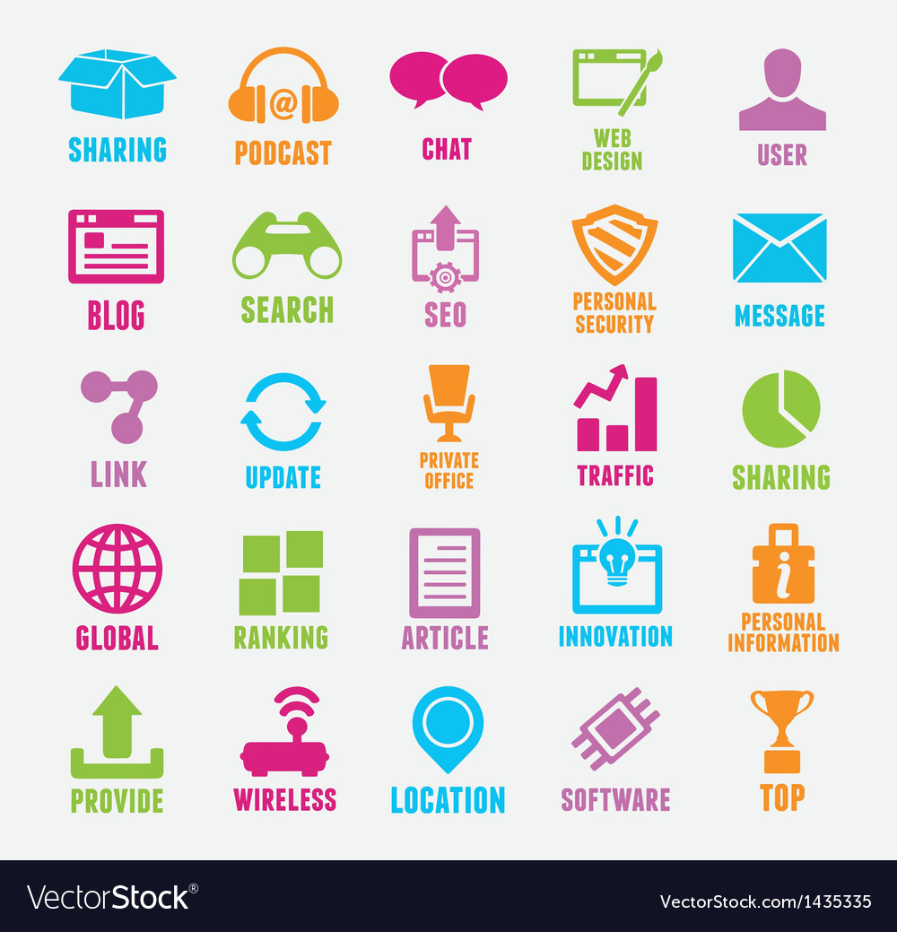 Set of seo and internet service icons vector | Price: 3 Credit (USD $3)