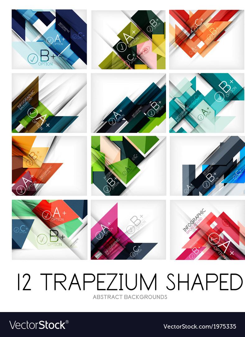 Set of trapezium geometric shape backgrounds vector | Price: 1 Credit (USD $1)