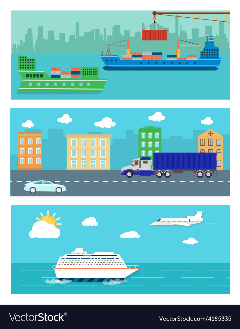 Shipping delivery car ship plane vector | Price: 1 Credit (USD $1)