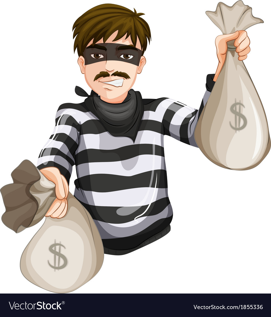 A robber with two sacks of cash vector   Price: 1 Credit (USD $1)