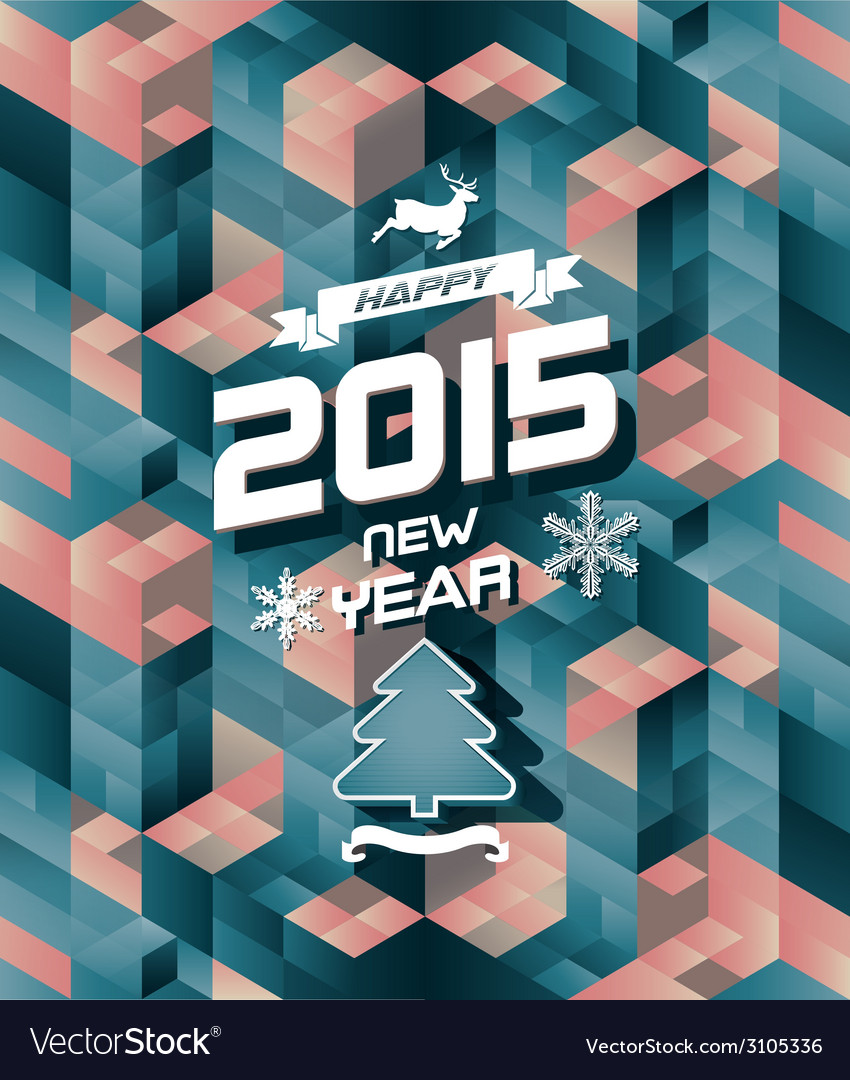 Abstract retro modern happy new year background vector | Price: 1 Credit (USD $1)