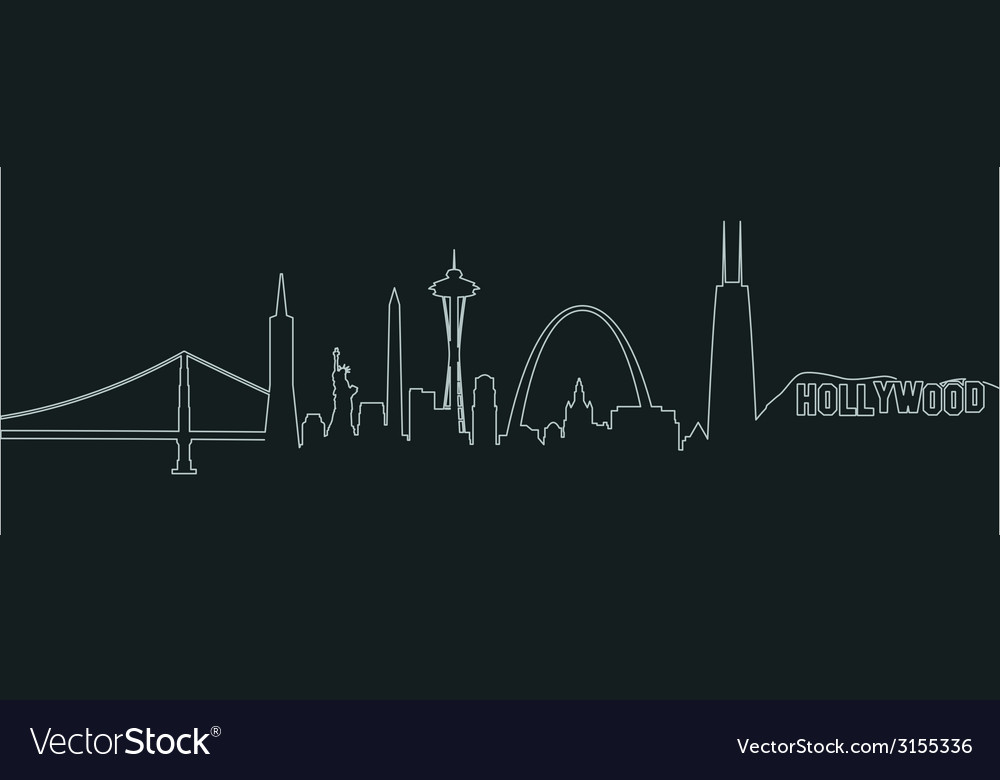 American cities profile vector | Price: 1 Credit (USD $1)