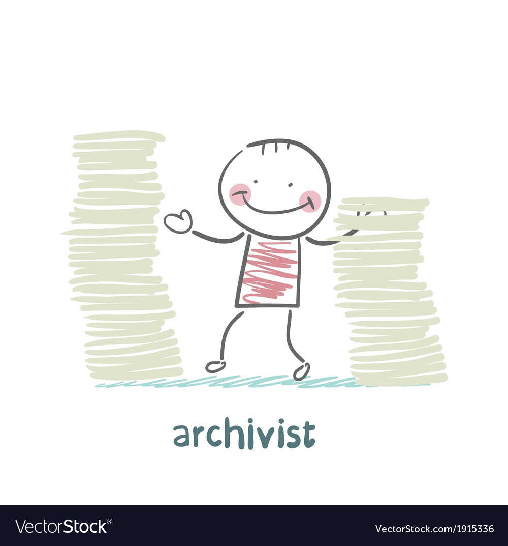Archivist is standing near the pile of papers vector | Price: 1 Credit (USD $1)