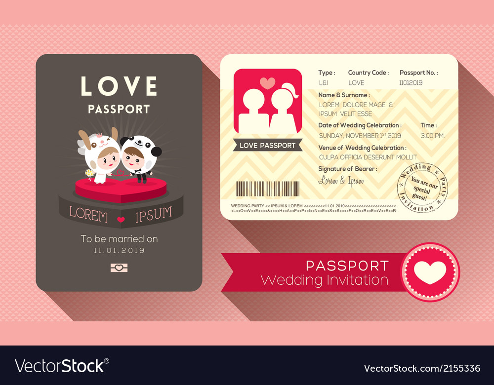 Cartoon passport wedding invitation card vector | Price: 1 Credit (USD $1)