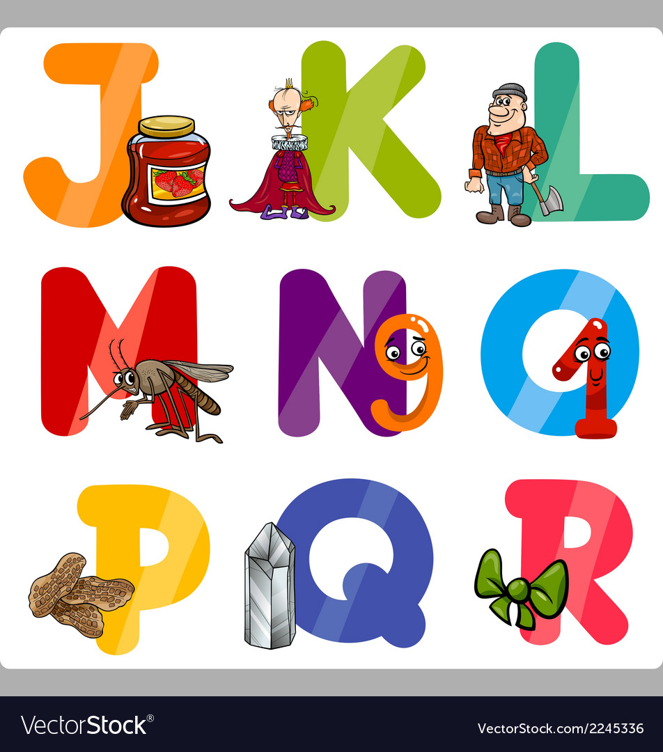 Education cartoon alphabet letters for kids vector   Price: 1 Credit (USD $1)