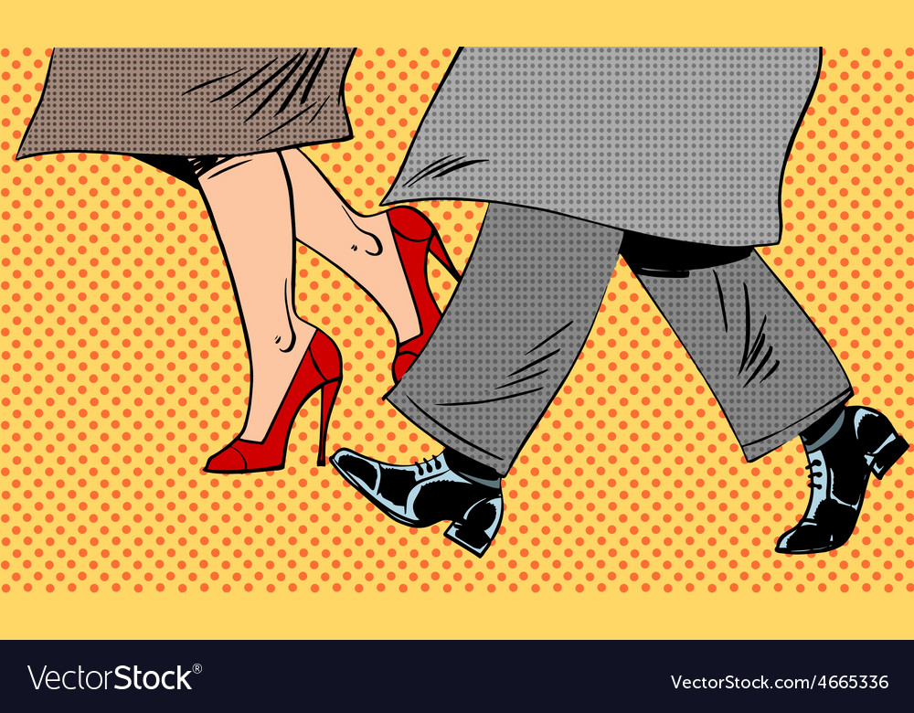 Feet man and woman shoe go bad weather street pop vector | Price: 1 Credit (USD $1)