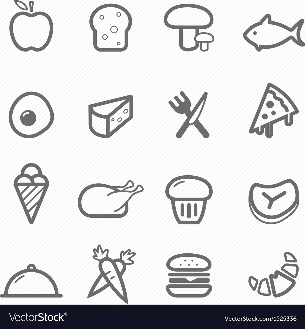 Food symbol line icon set vector | Price: 1 Credit (USD $1)